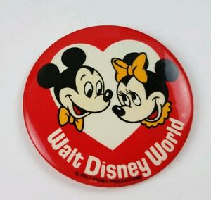 Vintage-1970-039-s-Mickey-Minnie-Pinback-Button-Walt-Disney-World-Productions