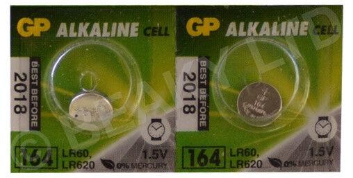 Genuine GP 164 AG1 LR60 LR620 L621 Alkaline Battery 1.5v [2-Pack]