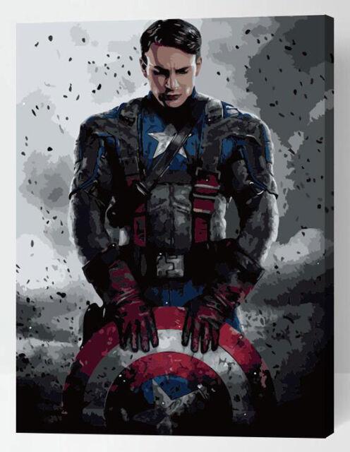 Painting by Numbers kit Captain America Superhero Super Hero Strong Man ML7193