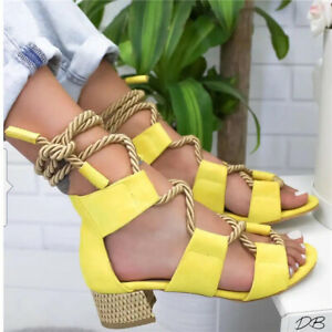 Womens-Sandals-Bandage-Strap-Ankle-Mid-Heels-Ladies-Block-Shoes-Lace-Up-Party