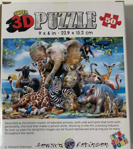 New 50 Piece Super 3D Jigsaw Puzzle African Smile Safari For kids /& Adults
