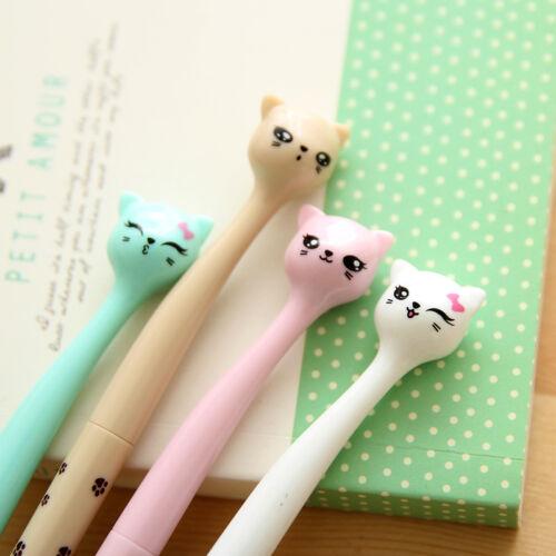 6Pcs Cute Fun Black Gel Ink Roller Ball Point Pens Cat Korean Little Stationery