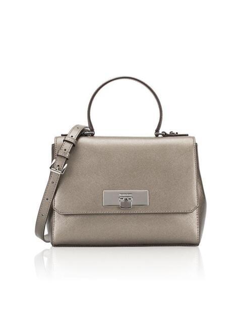 Michael Kors Saffiano Leather Callie Small Messenger Shoulder handbag Nickel 09b7d12cae6b0