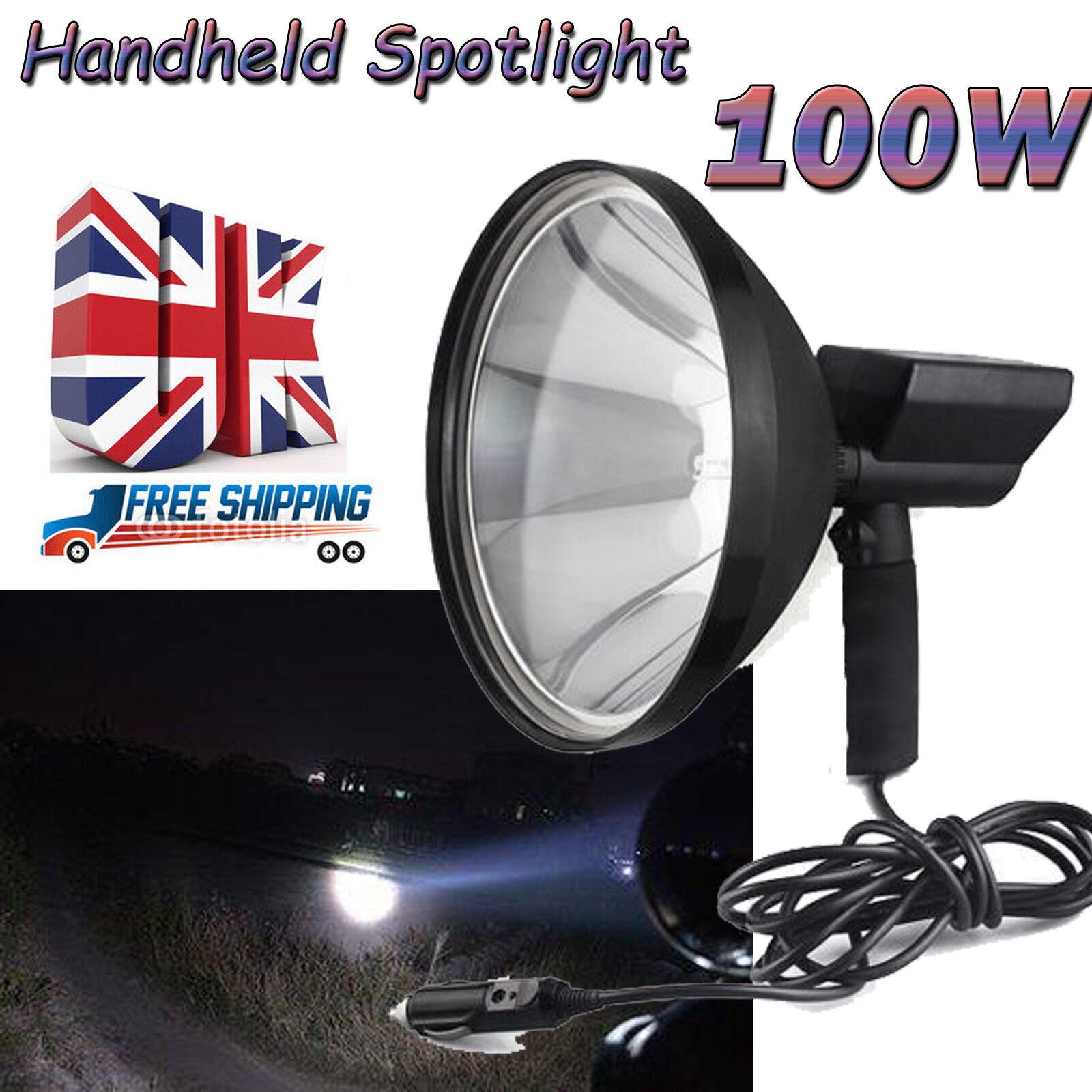 100W Spotlight Camping Handheld Hunting Spot Light HID Lamp Foxing Shooting 12V