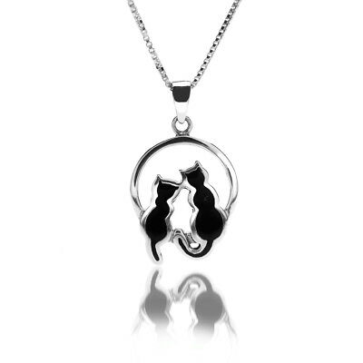 Black Cat Moonlight Pendant Necklace Sterling Silver Hallmark All Chain Lengths Angemessener Preis