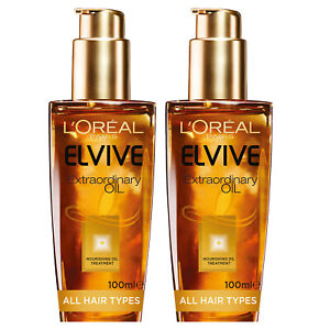 NEW L'Oreal Paris Elvive Extraordinary Non-Greasy Hair Oil Treatment 100ml x 2