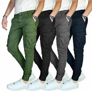 Pantalone-Uomo-Cargo-Invernale-Con-Tasconi-Verde-Blu-Grigio-Nero-Kaki-Primavera