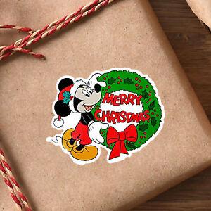 Adesivi Buon Natale.Dettagli Su 24 X Topolino Buon Natale Lucido Adesivo Etichette Carta Da Regalo Busta Disney