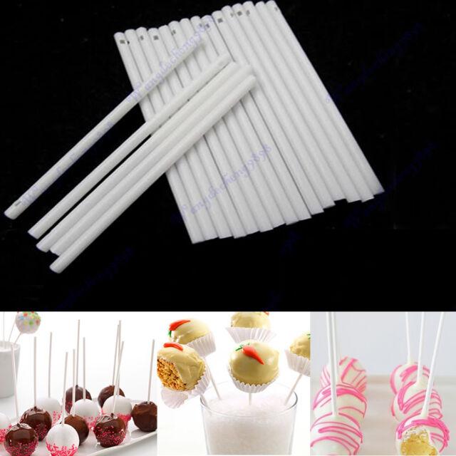 100pcs White Pop Sucker Sticks Chocolate Cake Lollipop Candy Lolly Mould Making