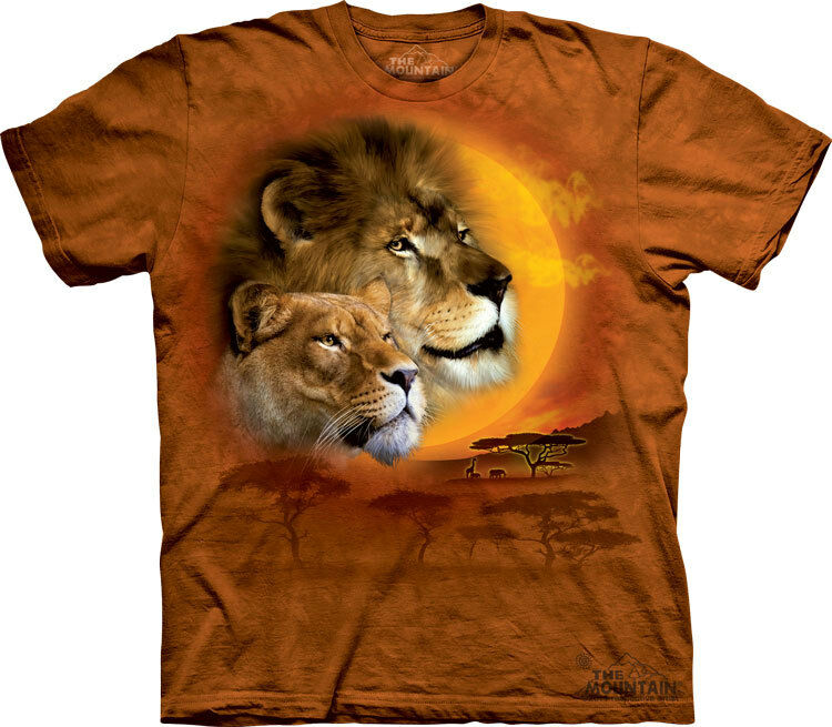 NEW LION SUN Animal Big Cat King of the Jungle Wildlife The Mountain T Shirt