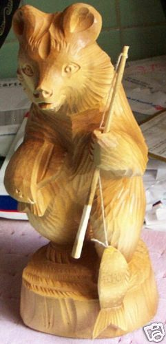 WOOD Hand CARVED RUSSIANMADE HUGE 10* BEAR-FISHER