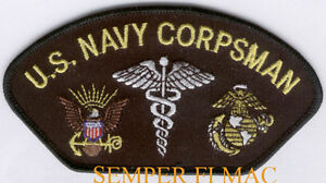 US NAVY CORPSMAN HAT PATCH MARINES MEDICAL FMF BADGE USS NAVY ...