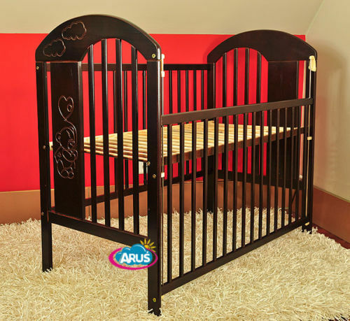"""BABY COT WITH A DROP SIDE /""""BEAR WITH BALLOON/"""" 6 COLOURS MATTRESS"""