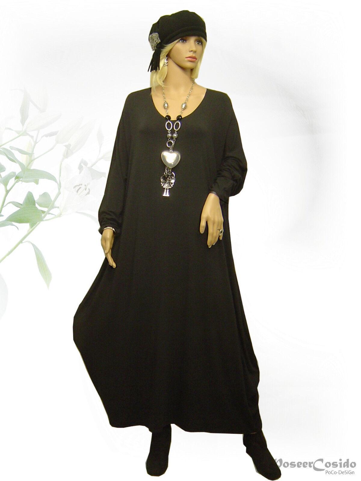 PoCo DeSiGn LAGENLOOK Ballon-Kleid schwarz 44 46 48 50 52 54 56 58 L-XL-XXL-XXXL