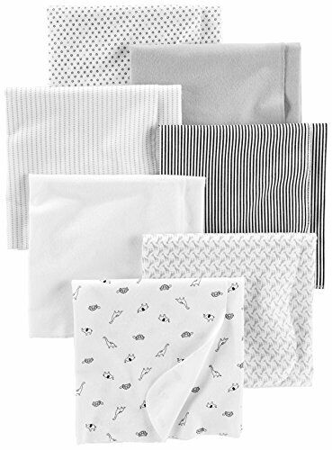 Gray//Whit Simple Joys by Carter/'s Baby Unisex 7-Pack Flannel Receiving Blankets
