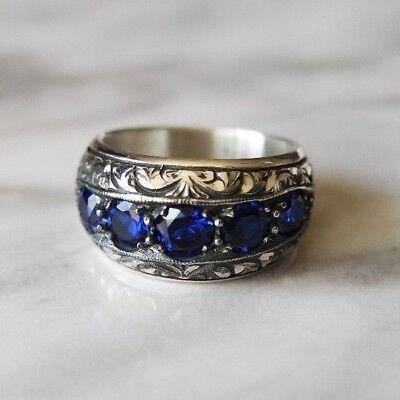 Turkish Handmade Jewelry Ottoman Sterling Silver 925 Sapphire Ring 7,8,9,10