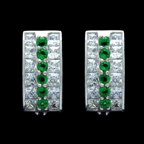 2CT Princess Round Emerald Green Created Diamond Huggie Earrings 14K White Gold