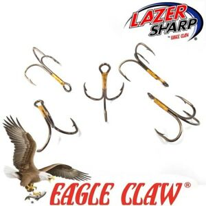 Treble-Hooks-Eagle-Claw-374-bronze-2X-Tailles-2-0-10-Flying-CS-Spinner-leurres