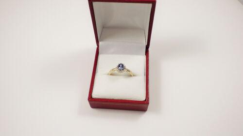 9 CT GOLD TANZANITA /& Diamond Cluster anillo de compromiso Tamaño jklmnopqrst