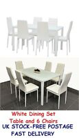 Modern Dining Set Table And 6 Chairs White Glass Dinner Sets Home Living Room