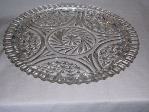 "VTG Cut Glass Serving, Cake, Pie Dish 12"" Outside, 9"" Serving Area, Free Ship"