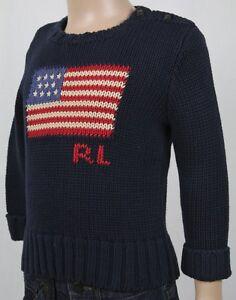 Children POLO Ralph Lauren Navy Blue American Flag Crewneck Sweater NWT $70