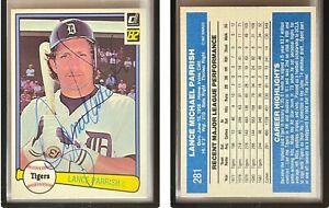 Lance Parrish Signed 1982 Donruss #281 Card Detroit Tigers Auto Autograph