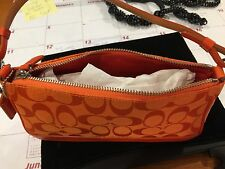 Handbag Coach Orange Canvas Leather Trim New Never Used with dust bag