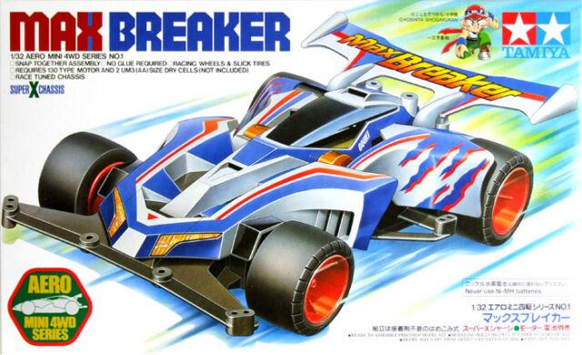 TAMIYA 1:32 MINI 4WD SERIE AERO MAX BREAKER SUPER X CHASSIS CON MOTORE ART 19601