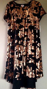 9c81252abed1 Details about LuLaRoe ELEGANT COLLECTION Carly BLACK Rose Gold Leaves Dress  XS Extra SMALL NWT