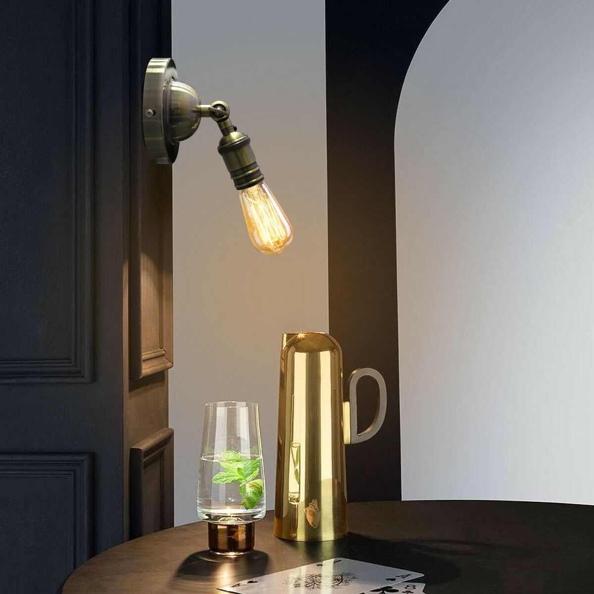 Wall Light Fixture With Switch: Retro Vintage Brass Wall Light Socket E27 Sconce Lamp