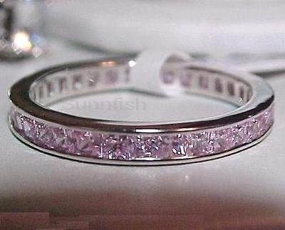 Sterling Silver Pink Princess Cut CZ Anniversary Eternity Ring Size 4-10