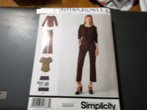 Skirt Crop Pants Simplicity Pattern 1783 Ms CYNTHIA ROWLEY Blouse w//Shape Hem