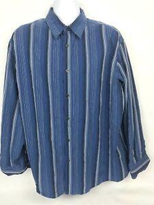 Claiborne-Men-039-s-Long-Sleeve-Dress-Casual-Shirt-BLUE-Black-STRIPED-Size-XXL-50