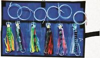6x Pusher Lure Marlin / Tuna 6.5 Trolling Rigged Lure Kit 6pcs With Mesh Case