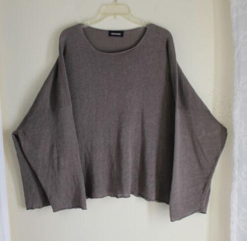 O Grå 100 s Boxy Funky Rund Strik Eskandar Flowing Sweater Linen Neck 4Zfdqx4wS