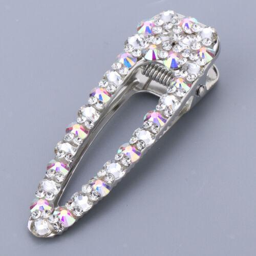 2pcs Diamante Hair Clip Anti Slip Crystal Bows Hair Clamp Pin Clasp Barrette