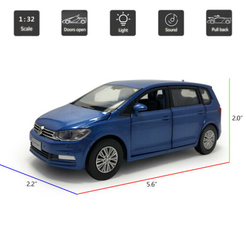 1//32 VW All New Touran L MPV Model Car Diecast Toy Vehicle Sound Light Blue Kids