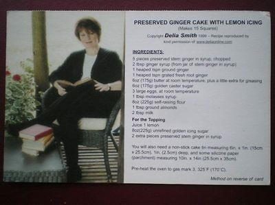 POSTCARD RECIPE - DELIA SMOTH - PRESERVED GINGER CAKE WITH LEMON ICING