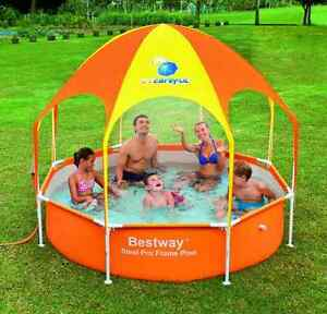 bestway frame pool mit sonnenschutz dach planschbecken sonnendach kinderpool neu ebay. Black Bedroom Furniture Sets. Home Design Ideas