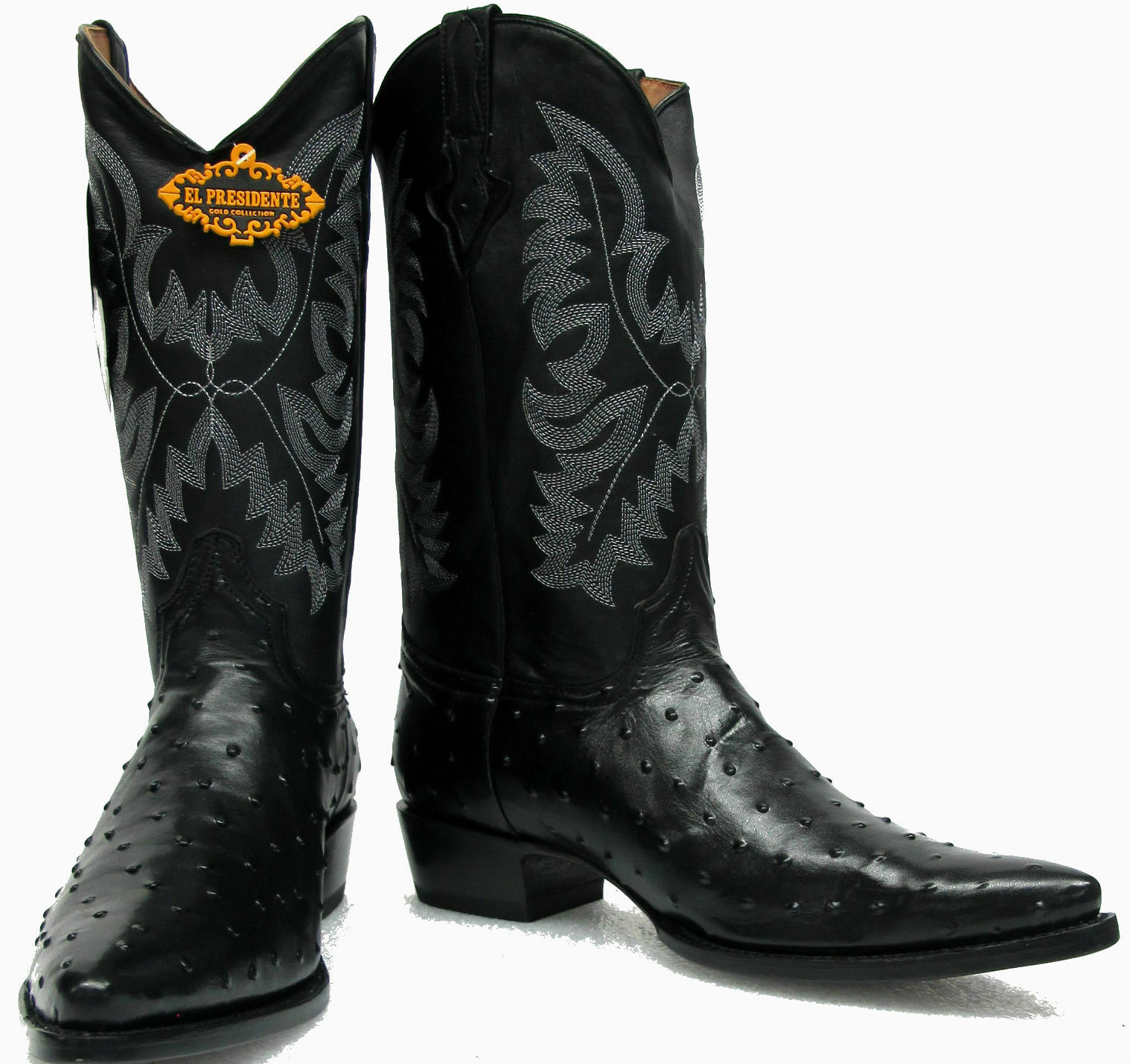 Men's New Ostrich Quill Design Leather Cowboy Western Rodeo Boots J Toe Black