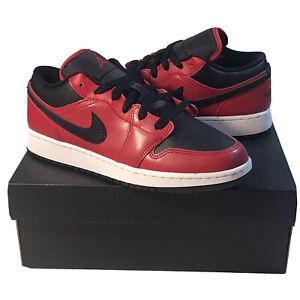 Air Jordan 1 Low 'Reverse Bred' Red/Black Sneakers Size 7Y Mens 7 (553560-605)