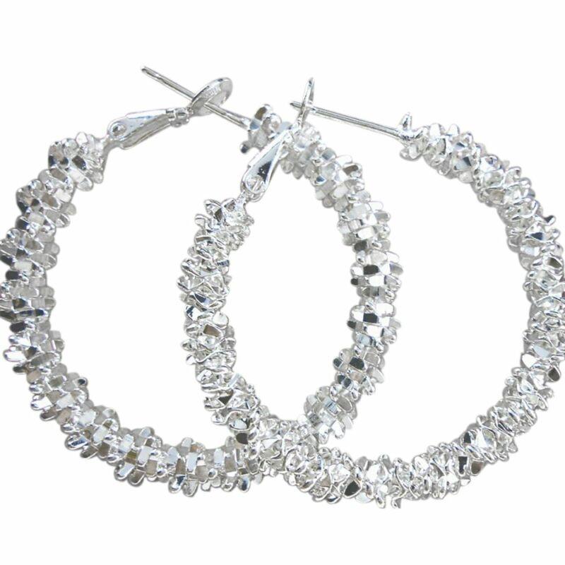 Ladies Hoop Earrings Silver Coloured Starry Star Design Large Costume Jewellery