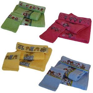 4-tlg-Kinder-Frottier-Handtuchset-mit-Baumwollborte-mit-Motiv-bestickt