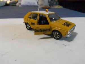 """Vintage Mebetoys Mattel 1/43 Volkswagen Golf """"ADAC strabenwacht' . como Nuevo."""
