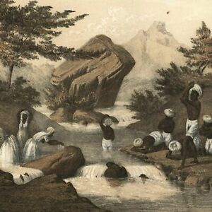 Mauritius-island-Hindoo-costumes-bathing-1856-Perry-Exped-old-litho-view-print