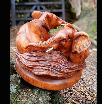Twin Elephants Wooden Carvings Animal Sculptures Animals Carvings Rustic Gifts Ebay