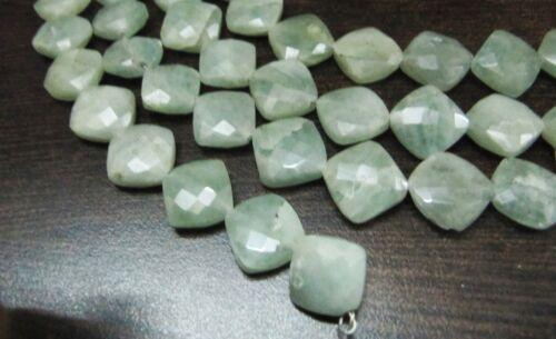 Natural Milky aquamarine Cushion Shape 11-12mm Briolette beads strand 8 inches