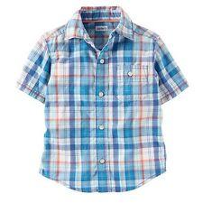 NWT Carters Toddler Boys 3T Button Down Short Sleeve Dress Shirt BLUE 165315