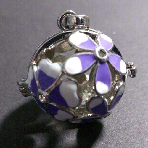Anhänger für Kugeln 18mm Perlenkäfig Engelsrufer Blumen lila Kugelkäfig